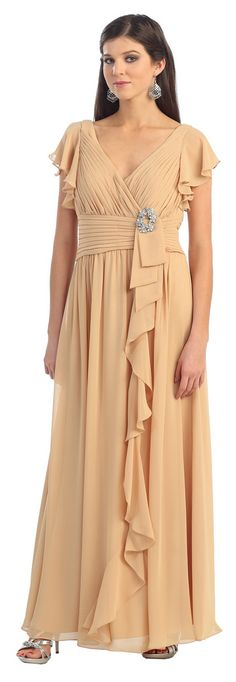 Sassy Long Mother of Bride dress in color Gold, Blue, Green & more - V Neckline style in material: Chiffon - Plus Size available. - $118 - Dress URL: http://www.jessicasfashion.com/Long-short-sleeve-chiffon-mother-of-bride-gown-MQ924.html