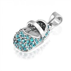Bling Jewelry March Birthstone Aquamarine Color CZ Baby Shoe Charm Silver