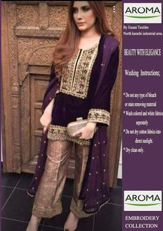 Conspicuous exclusive velvet dress to appraise your style! Price: For purchase of the dress, please visit www. Pakistani Fashion Party Wear, Pakistani Dresses Casual, Pakistani Wedding Outfits, Pakistani Dress Design, Indian Dresses, Stylish Dresses, Casual Dresses, Fashion Dresses, Shadi Dresses