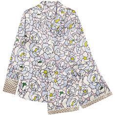 Olivia von Halle Alba Dione floral-print silk-satin pajama set (5.949.940 IDR) ❤ liked on Polyvore featuring intimates, sleepwear, pajamas, sky blue, silk satin pajamas, floral pyjamas and silk satin slip