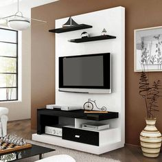 3 Admirable Simple Ideas: Floating Shelves Around Tv Tv Consoles floating shelves closet bedrooms.How To Hang Floating Shelves Doors. Wall Unit, Lcd Panel Design, Simple Bedroom, Closet Small Bedroom, Wall Decor Living Room, Living Room Shelves, Hallway Storage, Small House Storage, Lcd Wall Design