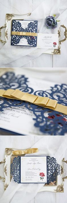30 Charming Beauty and the Beast Inspired Fairy Tale Wedding Ideas Navy blue and yellow Beauty and the Beast inspired laser cut wedding invitation cards Beauty And The Beast Wedding Invitations, Beauty And The Beast Wedding Theme, Beauty And The Beast Movie, Wedding Party Invites, Laser Cut Wedding Invitations, Wedding Beauty, Wedding Invitation Cards, Wedding Themes, Our Wedding