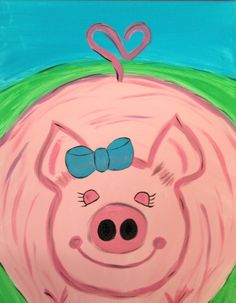 Pig canvas painting curly heart tail petunia custom