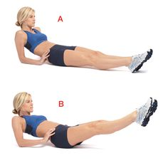 Sit on the floor with your legs fully extended, leaning back on your elbows, your fingers cupping the sides of your hips (a). Keeping your lower back pressed into the floor, engage your core and lift your legs about 45 degrees. Point your toes, press your thighs together, and trace 12 large clockwise circles (b), then 12 counterclockwise circles.