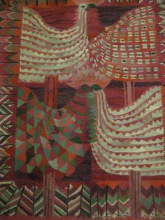 Swedish tapestry, mid-century, housed at the National Museum. Weaver not cited. __ Photo from http://birdsofoh.blogspot.com