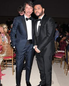 maisonvalentino Creative Director #PierpaoloPiccioli and @theweeknd strike a pose in their custom made tuxedos at the #MetGala @metmuseum