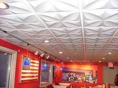 When you look up at your ceiling, what you see is the face of your ceiling tiles and not it's thickness. Ceilume Smart Ceiling Tiles and vinyl ceiling panels. Drop Ceiling Tiles, Dropped Ceiling, Ceiling Panels, Ceiling Lights, Border Tiles, Red Walls, Style Tile, Indoor Air Quality, Basement Remodeling