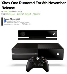 November 8th is right around the corner! Xbox rumored to be arriving..