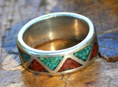 Sterling Silver Turquoise  and Coral Ring by SouthernSisAntiques
