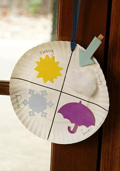 Learning weather types with paper plate - I like the clothespin with arrow. Easy to change.  Could make with more weather words included.