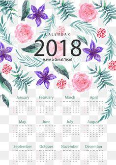 Pintados à mão flor romântica calendar template, Vector De Material, Elementos Românticos, Pintados à Mão FlorPNG e Vector