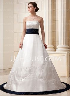 Wedding Dresses - $193.09 - A-Line/Princess Strapless Chapel Train Satin Wedding Dress With Embroidery Sashes Beadwork (002011540) http://jjshouse.com/A-Line-Princess-Strapless-Chapel-Train-Satin-Wedding-Dress-With-Embroidery-Sashes-Beadwork-002011540-g11540