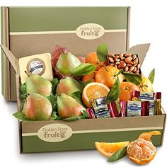 The best of the harvest for the perfect seasonal greeting in a festive gift box Lovely Satsuma mandarins with leaves and navel oranges Imperial Comice pears from our own orchards Golden State Fruit Harvest Favorites, Fruit and Gourmet Gift Box, 6 Pound