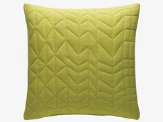 Decorated with stitched geometric shapes, the Meera yellow/green quilted cushion combines bright colour with a subtle 3D effect. £20 #ourHabitat
