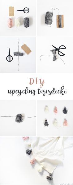 (Upcycling) DIY bedspread with tassels - feather cloud- (Upcycling) DIY Tagesdec. Baby supplies Baby Bikes (Upcycling) DIY bedspread with tassels - feather cloud- (Upcycling) DIY Tagesdecke mit Tasseln – Federwolke (Upcycling) DI Upcycled Home Decor, Upcycled Crafts, Diy Home Crafts, Diy Mask, Diy Face Mask, Diy Tassel, Tassels, Diy Accessoires, Glands