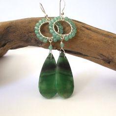 Natural Stone Earrings Slab Green Aventurine Wire Wrapped Hoop Tear Drop Earrings by BeachGirlBeads on Etsy
