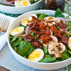 I've been having on of these with dinner for the last 4 days!! yUM!! Spinach Salad Warm Bacon Dressing