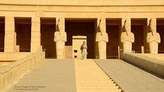 Visionary artist, Miss Martina Hoffmann descending into the upper terrace of Temple of Queen Hasthepsut. Cliffs at Deir El-Bahri, Egypt.