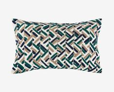Texture embroidered blue teal blue grey pillow