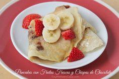 Pancakes con frutas frescas y chocolate / Pancakes with fresh fruits and chocolate #breakfast #desayunos