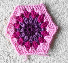 FREE PATTERN - Lavender and Wild Rose: Crochet starburst hexagon pattern tutorial