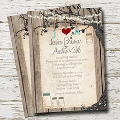 Rustic Mason Jar Wedding Invitation Lights by WallflowerEvents
