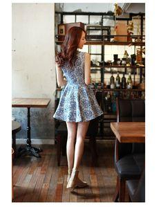 Vestido Feminino Vintage Saia Rodada Estampa Floral Verão [floral pattern #skirt #dress]
