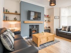 With an elegant colour palette and a log burner, the sitting room at Cartref Cottage is a stylish, calming and relaxing space. This holiday home is set in Keswick and sleeps with 2 pets welcome. Victorian Living Room, Cottage Living Rooms, Living Room Grey, Living Room Interior, Home Living Room, Blue Feature Wall Living Room, Duck Egg Living Room, Kitchen Feature Wall, Feature Wall Bedroom