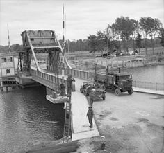 """fallschirmjager: """" Pegasus bridge, Caen canal 9 June 1944, with Horsa gliders in the background. """""""