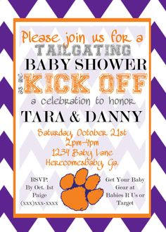 Printable Clemson Baby Shower Invitation on Etsy, $10.99