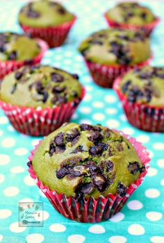 Green Tea Chocolate Muffins - With a subtle hint of green tea and chocolate flavors, too plus a natural vibrant green color these moist and tender muffins are great for tea time or any time you fancy a sweet snack.