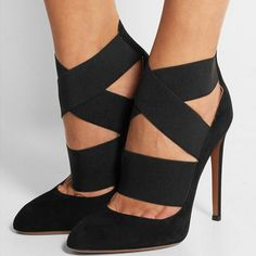 3276886985 Heel measures approximately inches with a inches platform Black suede Slip  onSmall to size. See Size & Fit notes.