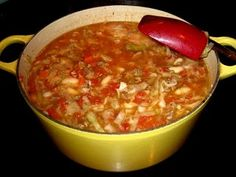 hamburger veggie soup, my dad's recipe!