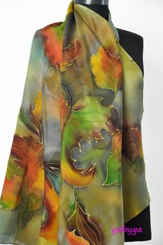 Hand Painted silk shawl/Painted Leaves /Hand painted silk/Woman Scarf/Painting Shawl/Painting silk shawl/Luxury Silk scarf made by Gabyga on Etsy.com