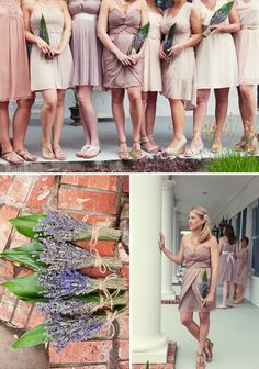 Love the taupe bridesmaids dresses!