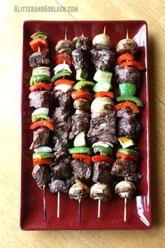 So tonight's temperature in central MN was around and was wet and drizzly. Did that stop me from grilling though, no way! When you have to have BBQ, you have to have BBQ, am I right? Beef Kabobs are always a quick and easy meal to throw on the gril Beef Kabob Recipes, Entree Recipes, Grilling Recipes, Camping Recipes, Dinner Recipes, Steak Kabobs, Shish Kabobs, Kebabs, Skewers