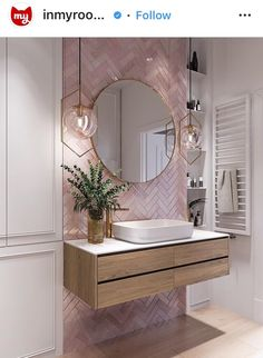 Elegant and luxurious bathroom design ideas for stylish decor -. - Elegant and luxurious bathroom design ideas for stylish decor – - Pink Bathroom Tiles, Pink Tiles, White Tiles, Pink Bathrooms, Dream Bathrooms, Master Bathrooms, Bathroom Wallpaper Pink, Grey Marble Bathroom, Zebra Bathroom