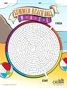 Summer Beach Ball Maze - End of the Year Puzzles