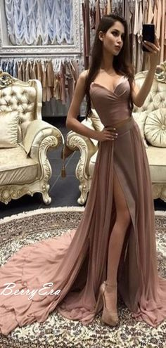 f98438c5161 Popular Chiffon Slit Long Strapless Prom Dresses