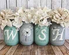 WISH Mason Jars, Dandelion wishes, Set of 4 pint size Mason jars, Shabby Chic decor, Rustic Home dec Mason Jar Projects, Mason Jar Crafts, Mason Jar Diy, Bottle Crafts, Mason Jar Vases, Diy Projects, Shabby Chic Homes, Shabby Chic Decor, Rustic Decor