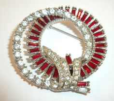 Ledo double ring baguette and rhinestone brooch in by YosFinds, $30.00
