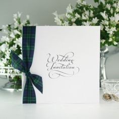Classic Script Black Watch Tartan Wedding Invitation: inspiration, add ribbon to wedding invitation.
