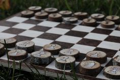 Handmade wooden Chess Board Set with wood burned by tyswoodshop