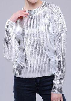 White Plain Round Neck Fashion Acrylic Pullover Sweater