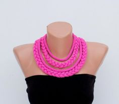 Knitted necklace-Infinity necklace- Pink fushia bright pink Fiber Knit Necklace AOD from Ainur Artichoke Flower on Etsy, $20.00