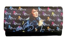 """Licensed Black with Colors Elvis Presley Wallet - Synthetic leather - Snap closure - Interior features bill compartment - Credit card slots - ID window - Back zip coin pocket Size - 7.5""""W x 4""""H x 1""""D"""