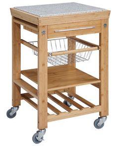 Kitchen Island Cart, Granite Top
