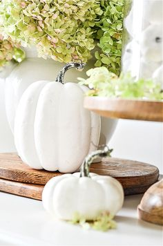 Create a beautiful and easy fall vignette using a cloche and white pumpkins. Step-by-step easy diy and directions with lots of easy to understand design theory! Faux Pumpkins, Small Pumpkins, White Pumpkins, Painted Pumpkins, Fall Home Decor, Autumn Home, Apple Wreath, Fall Vignettes, Summer Door Wreaths