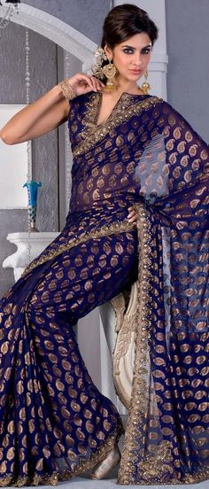 Deep #Blue Faux #Georgette #Saree With #Blouse @ $115.33 | Shop Now @ http://www.utsavfashion.com/store/sarees-large.aspx?icode=sbr442