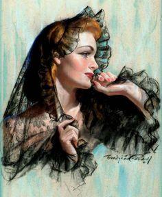 Pin Up Girls Vintage © John Bradshaw Crandell Pin Up Vintage, Vintage Images, Vintage Art, Vintage Ladies, Victorian Ladies, Vintage Trends, Vintage Style, Rolf Armstrong, Pinup Art
